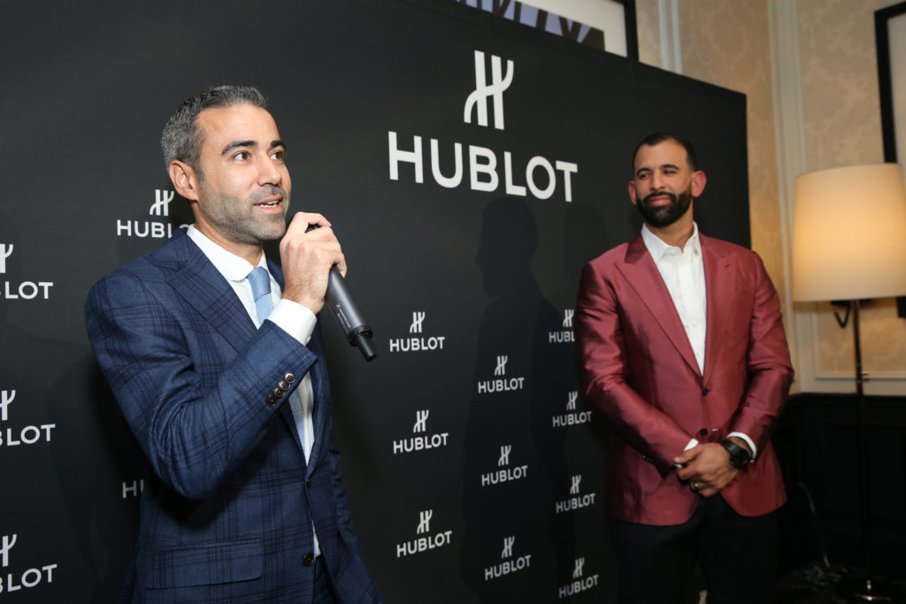 Hublot event, backdrop, jose bautista